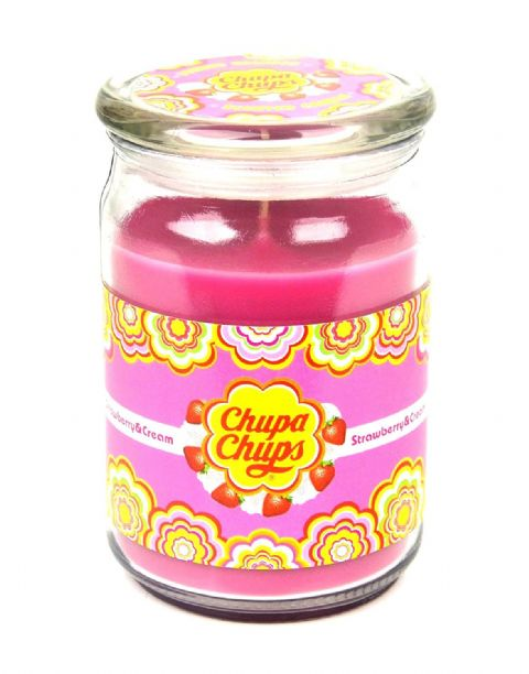 Strawberry & Cream Scented - Chupa Chups Large Jar Candle 130 Hours